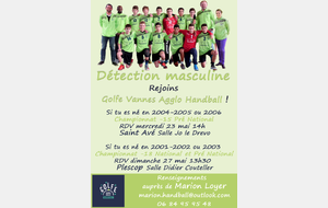 Détection masculine Golfe Vannes Agglo Handball