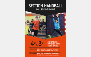 Inscription Section Sportive Hanball au Collège de Rhuys